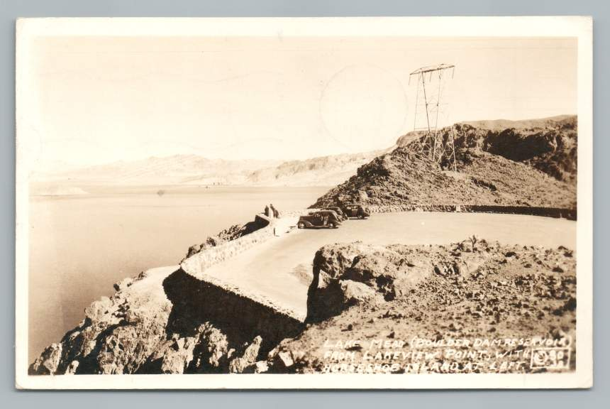 Lake Mead from Lakeview Point RPPC Boulder Dam Nevada Vintage Photo WWII Stamp